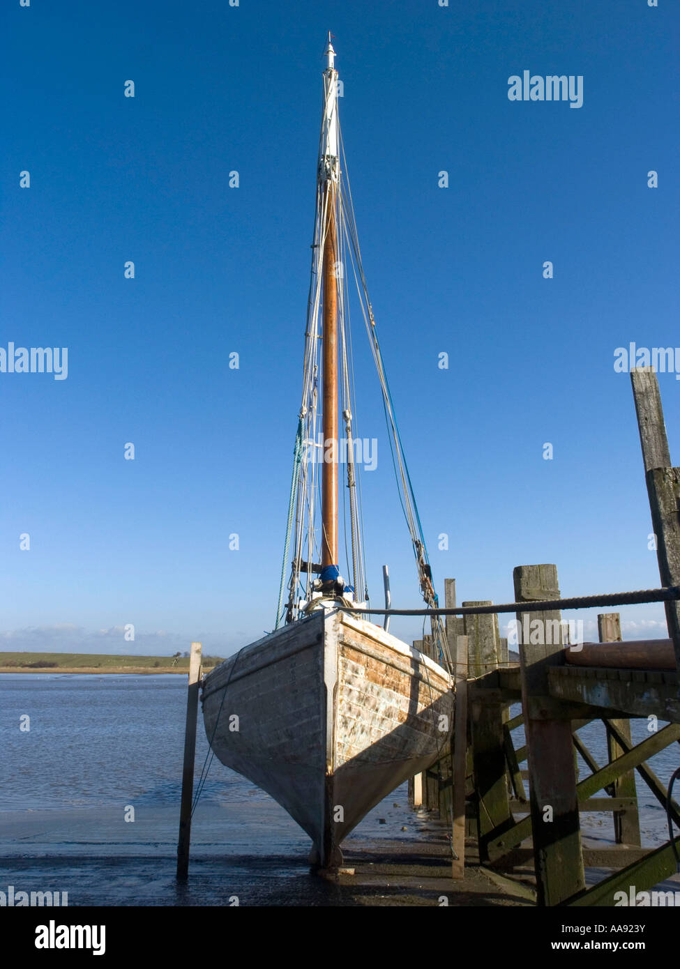 Ploughboy on the slipway on the River Wyre Estuary at Skippool Lancashire - Stock Image