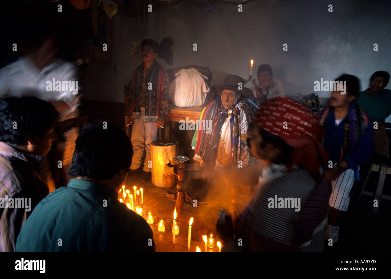 Carving of Maximon Cult to Maximon Santiago Atitlan Lake Atitlan Guatemala - Stock Image
