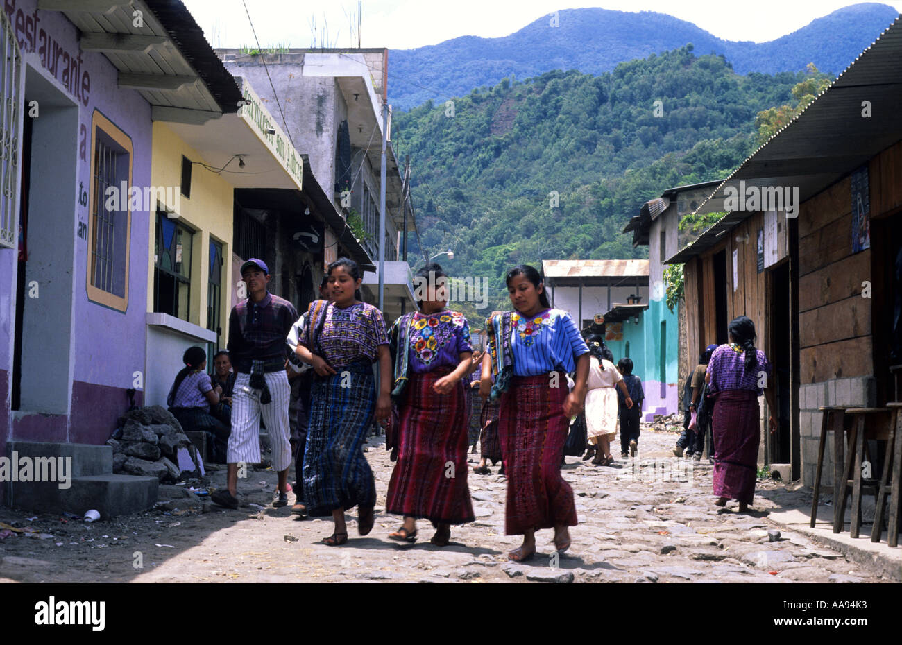 Typical street of Santiago Atitlan Lake Atitlan Guatemala - Stock Image