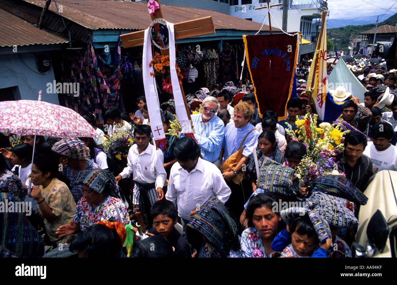 Religious ceremony en Santiago Atitlan Guatemala - Stock Image