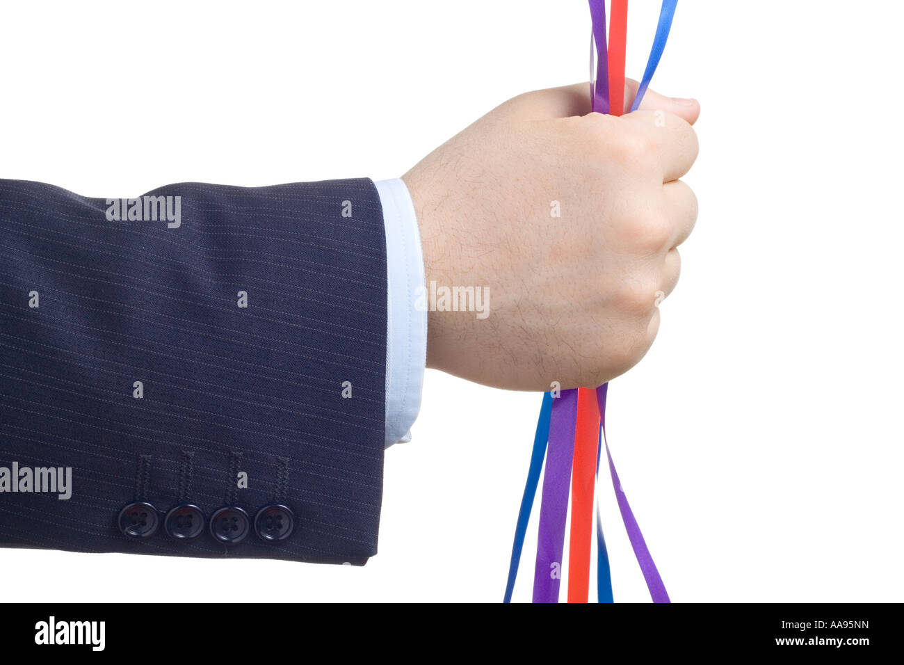 Person holding colorful stripes - Stock Image