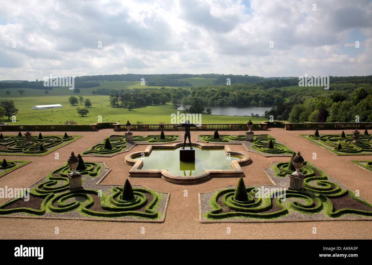 Yorkshire Terrace: Capability Brown Garden Design Stock Photos & Capability