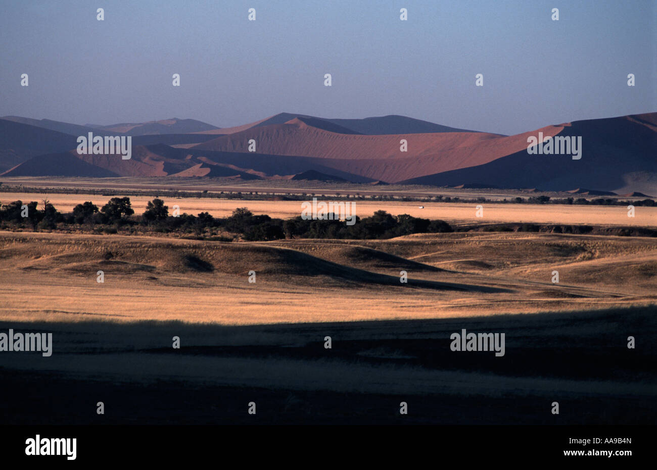 Sand dunes and surrounding landscape at sunrise Namib Naukluft National Park en route to Dune 45 and Sossusvlei - Stock Image