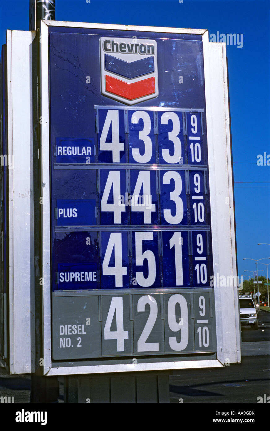 Gas Station Prices >> Chevron Gas Station Sign Showing Possible Future Price Of Four Us