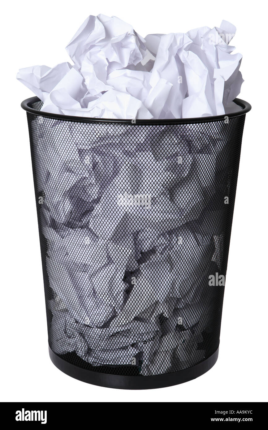 Trash can full of paper - Stock Image