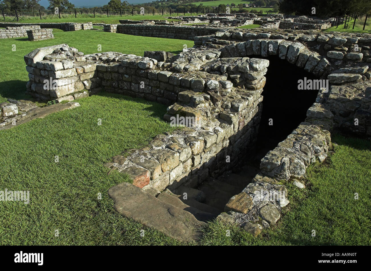 Detail of Roman Ruins at Chesters Fort (Part of Hadrians Wall) Northumberland - Stock Image