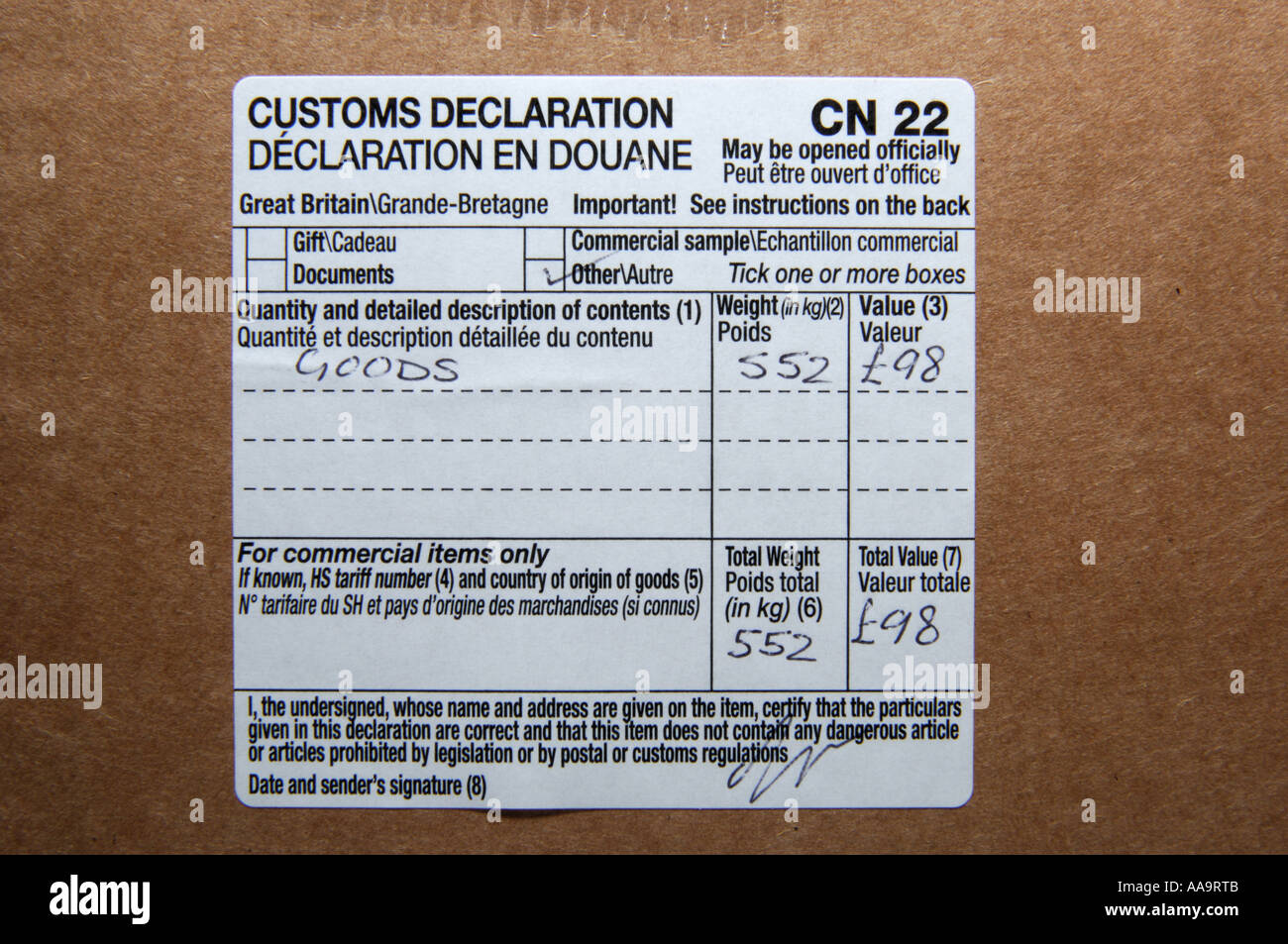 Close up of a customs declaration label on a parcel stock photo close up of a customs declaration label on a parcel thecheapjerseys Choice Image