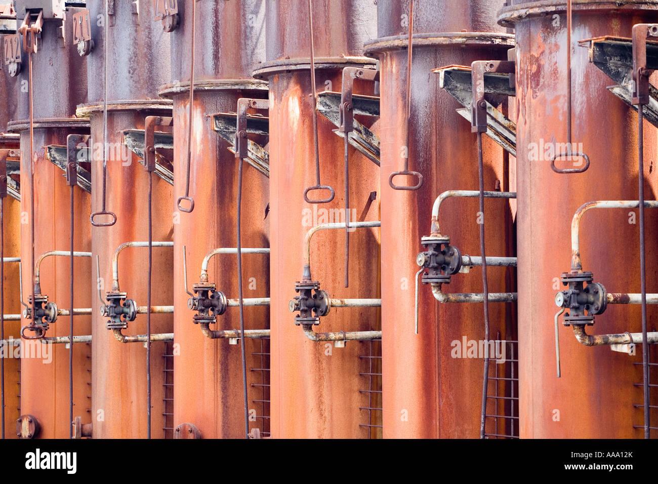Kokerei Zollverein Essen chimneys of coking plant - Stock Image