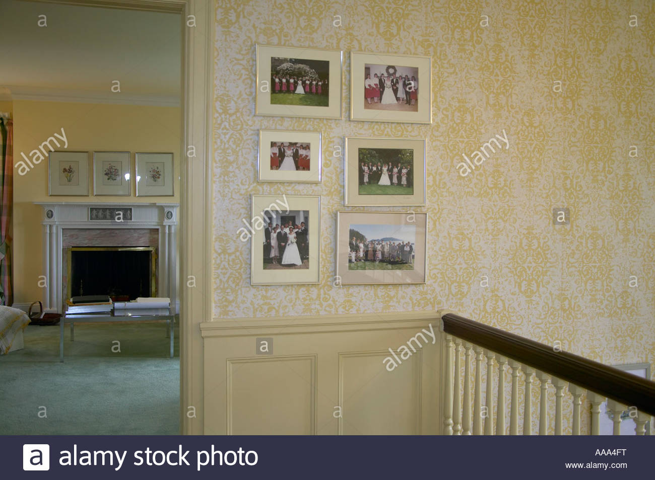 Framed photos mounted on wall - Stock Image