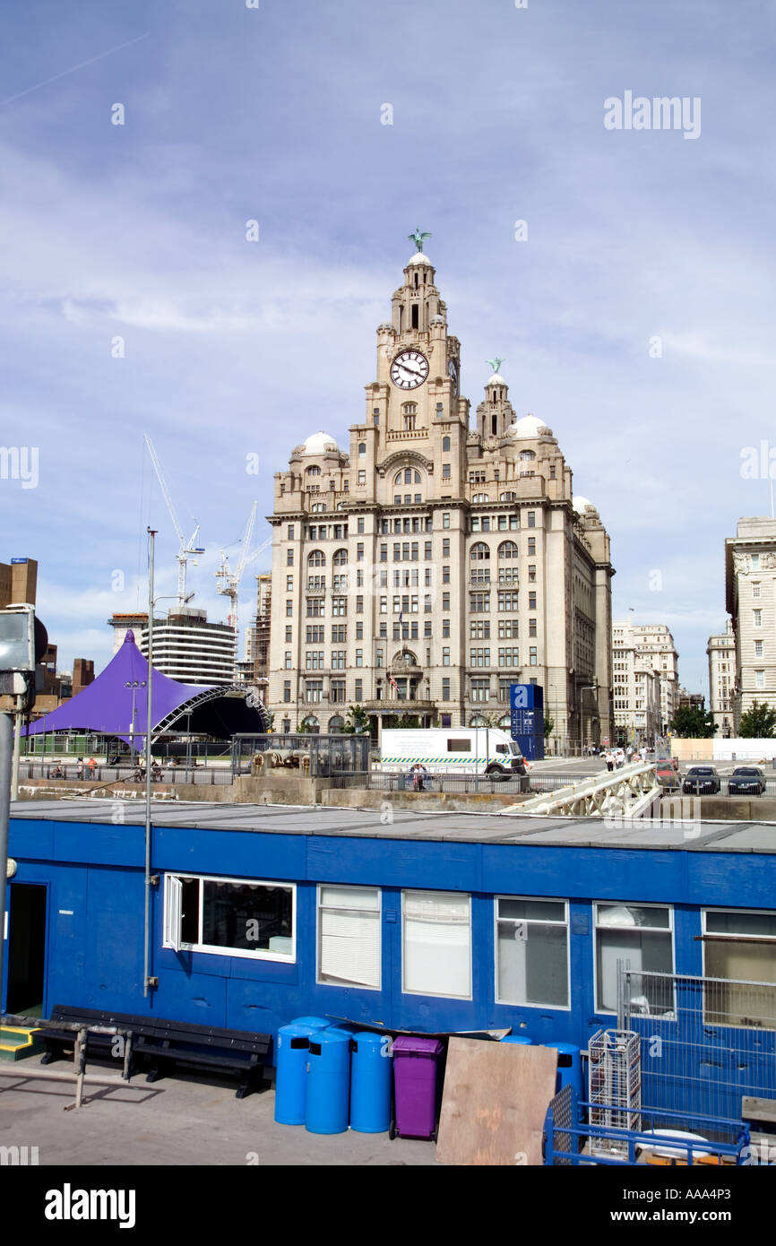 The Royal Liver Building Liverpool,with the Pier Head in front,Liverpool,GB - Stock Image