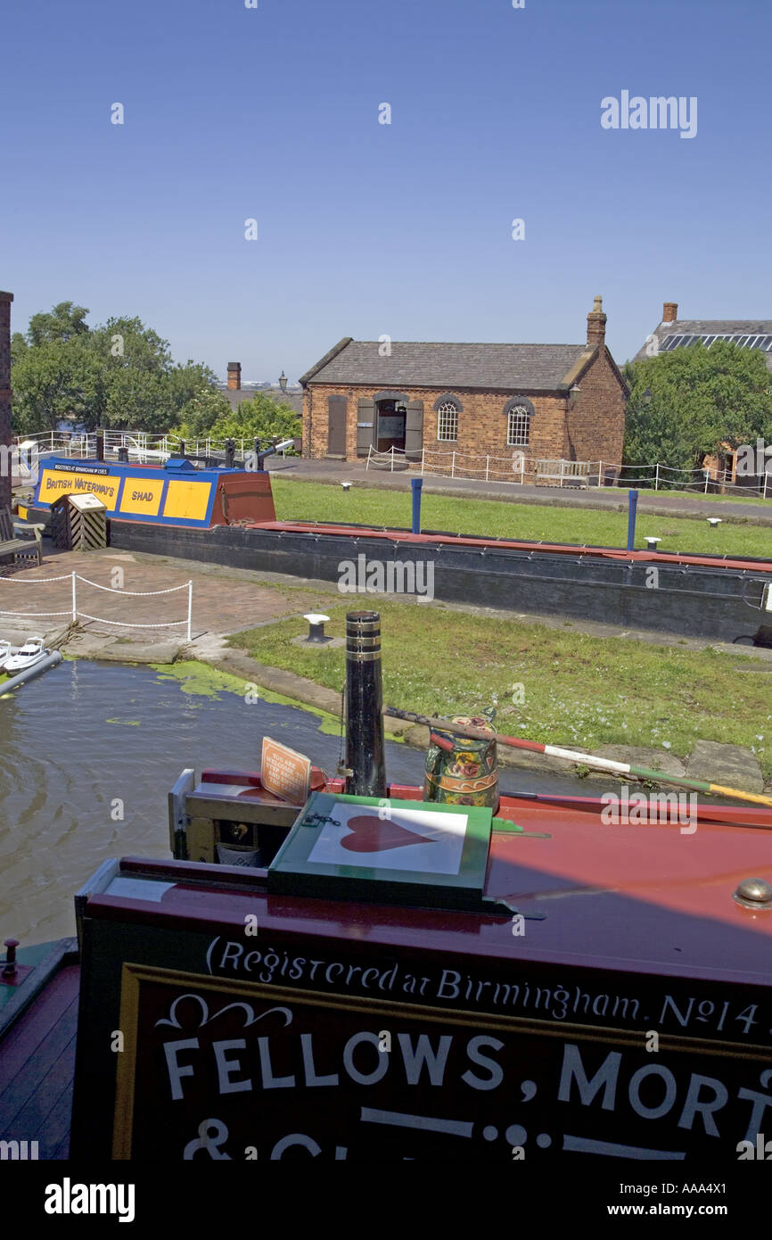 View across lock and canal at the Boat museum,National Waterways Museum.Ellesmere  Port,Cheshire,UK,GB,England, Stock Photo