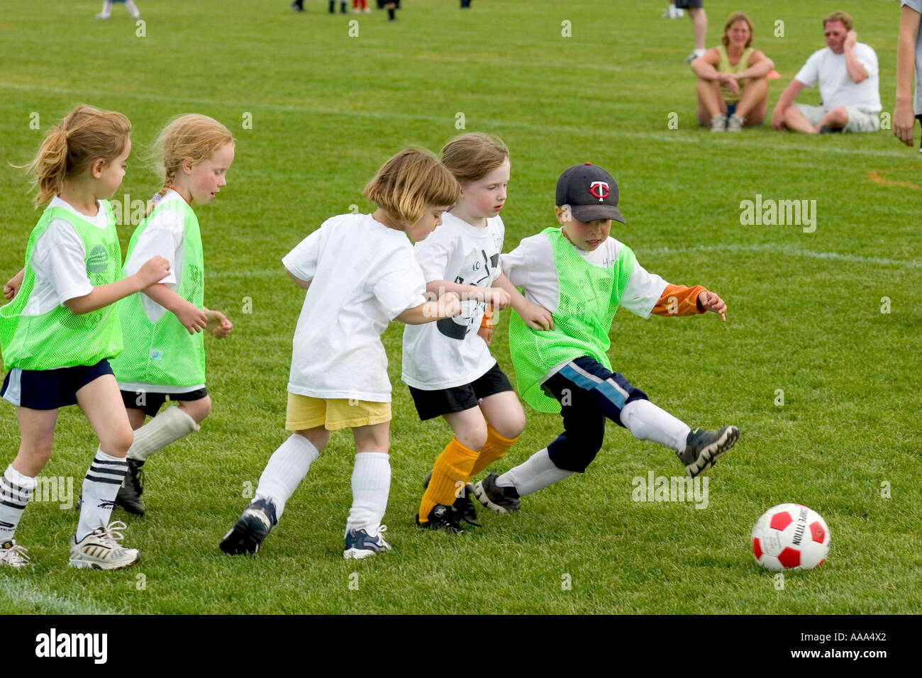 5026aa9c4fe Boys and girls age 4 playing an action filled soccer game. Carondelet Field  by Expo