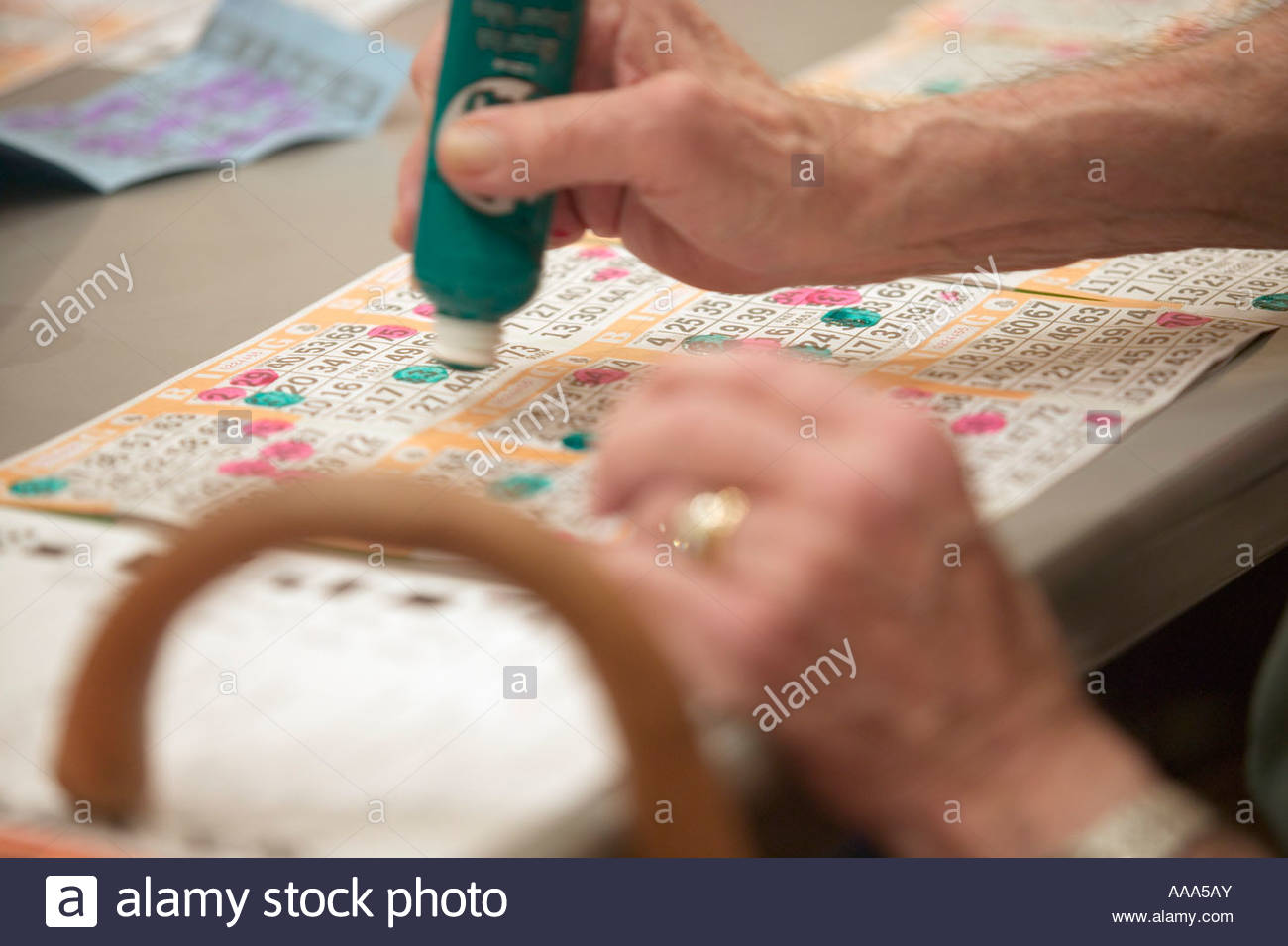 Senior man playing bingo - Stock Image