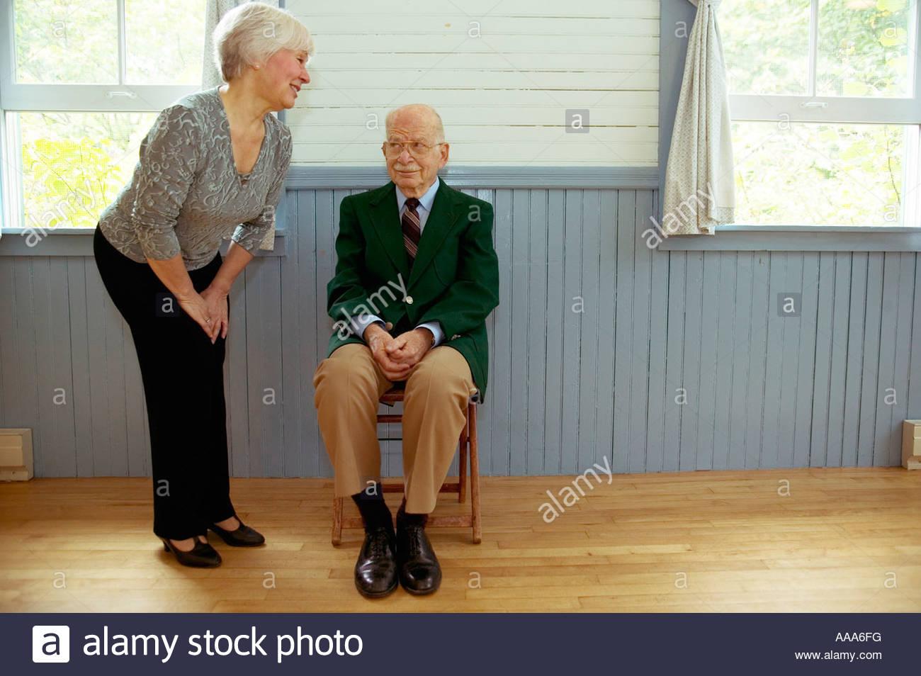 Senior couple talking - Stock Image
