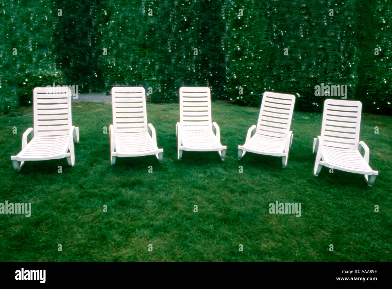 Chaise Lounge Lawn Chairs On Green Grass In Park
