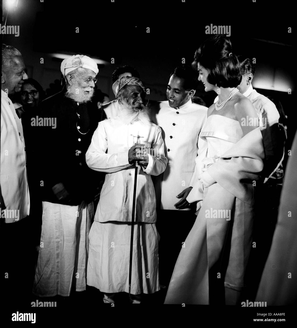 IND030604 U S first lady Jacqueline Kennedy R wife of president John F Kennedy talks with Maharana of Mewar C during - Stock Image