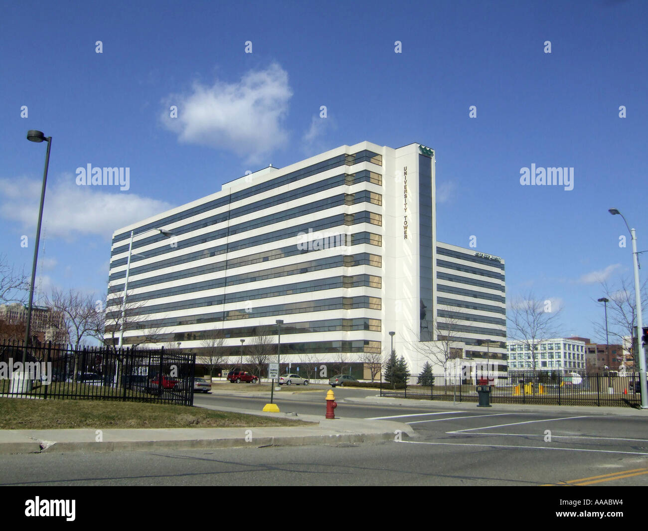 University Towers condominium development in downtown Detroit Michigan MI - Stock Image