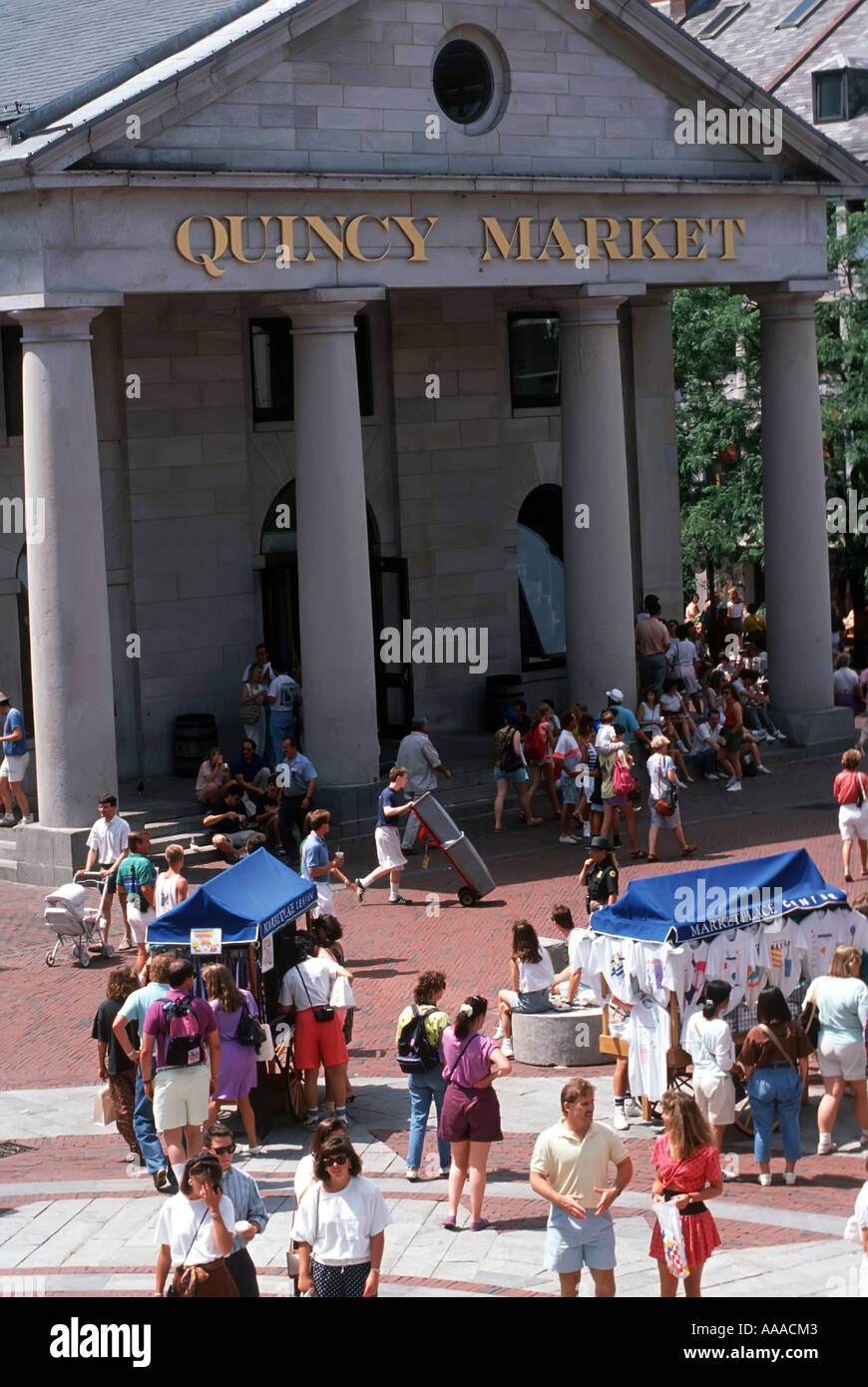 Quincy Market shopping district area of Boston Massachusetts MA - Stock Image