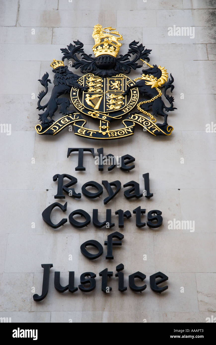 The Royal Courts of Justice coat of arms in London - Stock Image