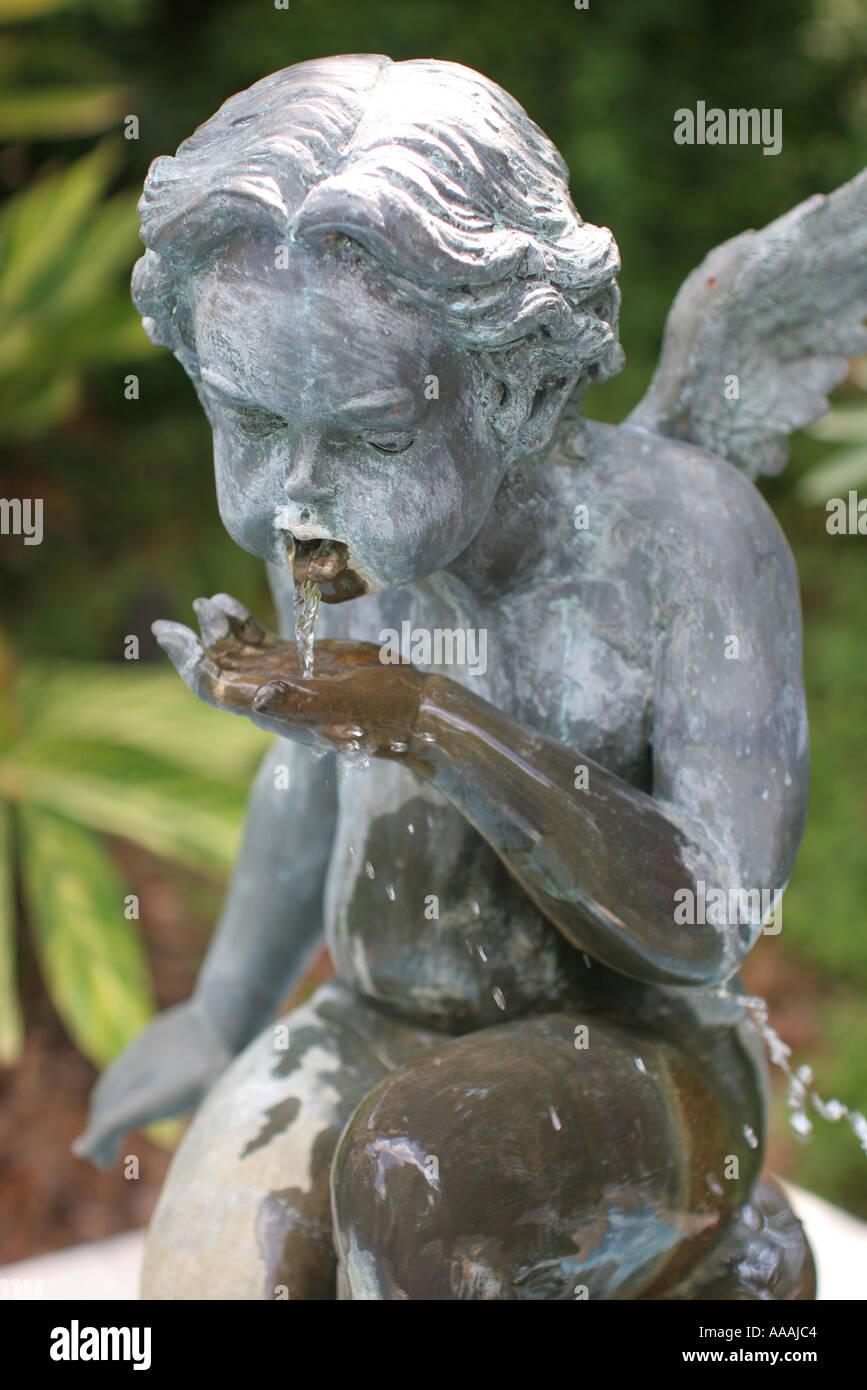 Orlando Florida Courtyard At Lake Lucerne Garden Statue Detail   Stock Image