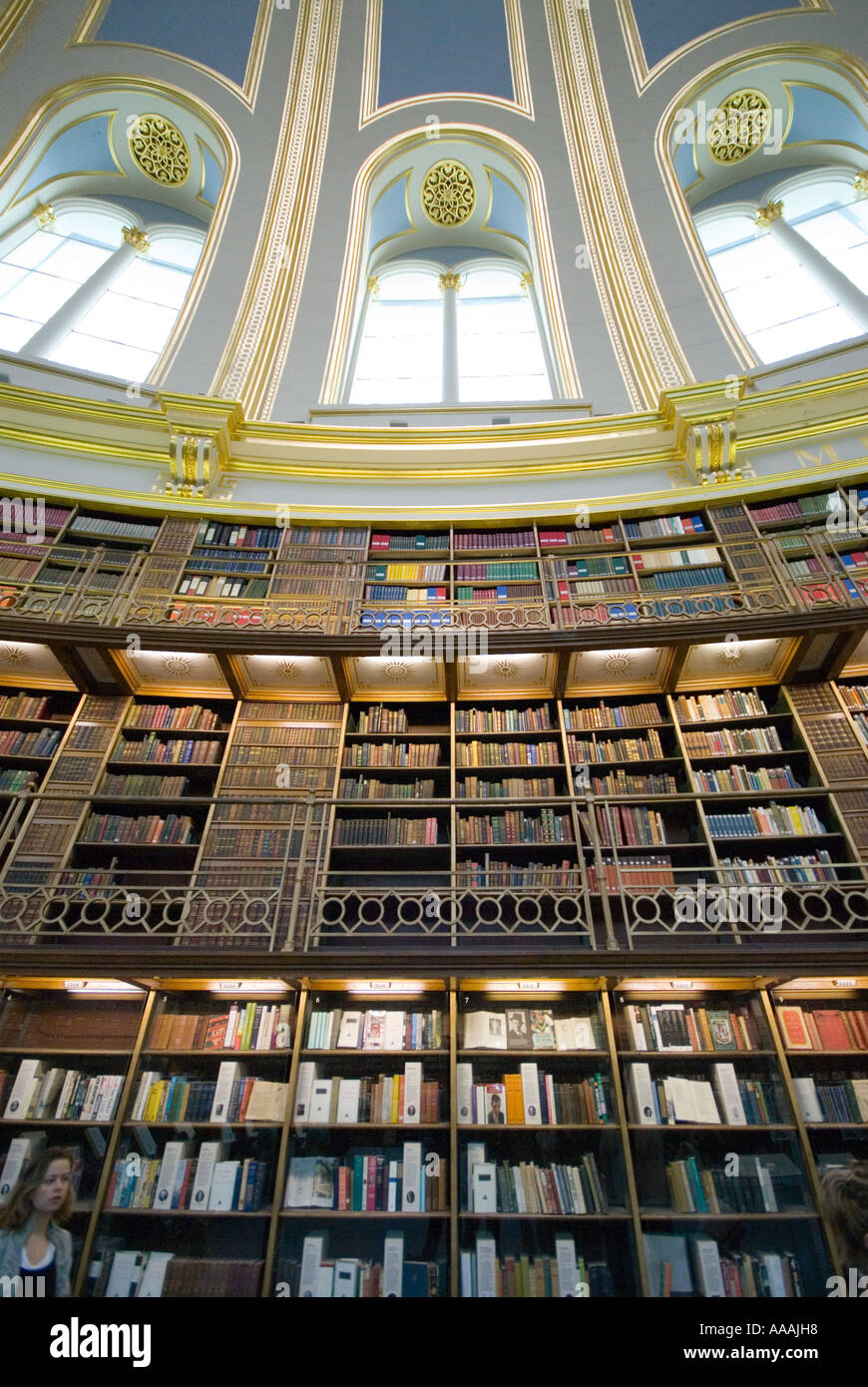 Book shelves at the British museum Library reading room London England - Stock Image