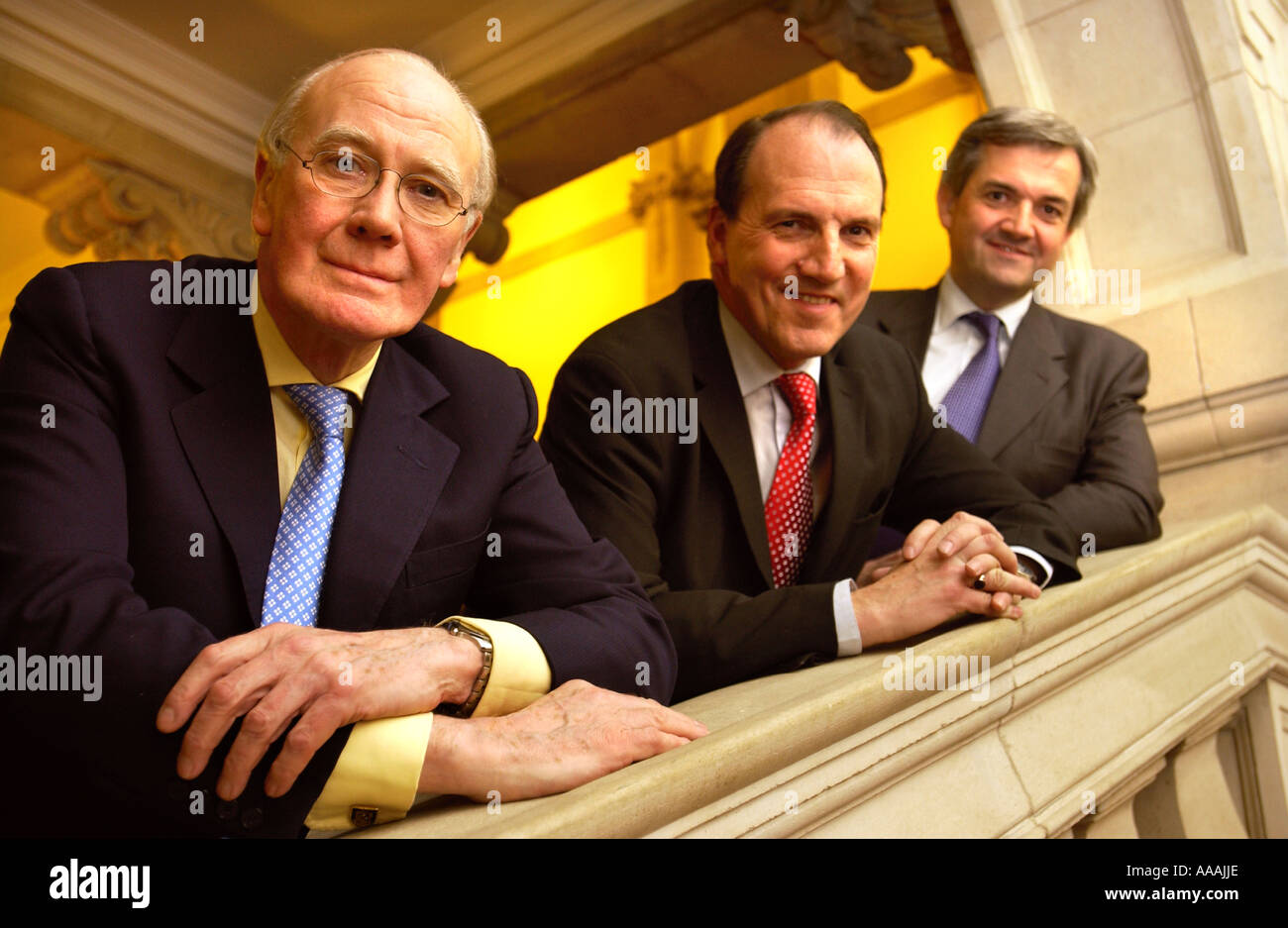 LIBERAL DEMOCRAT LEADERSHIP CONTENDERS L R SIR MENZIES CAMPBELL SIMON HUGHES AND CHRIS HUHNE - Stock Image
