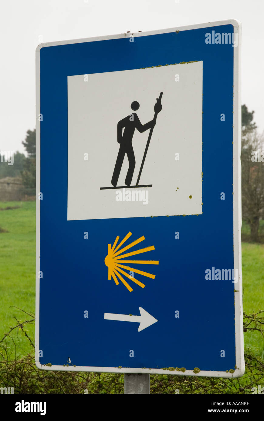 Camino de Santiago sign in North Spain marking the pilgrimage route - Stock Image