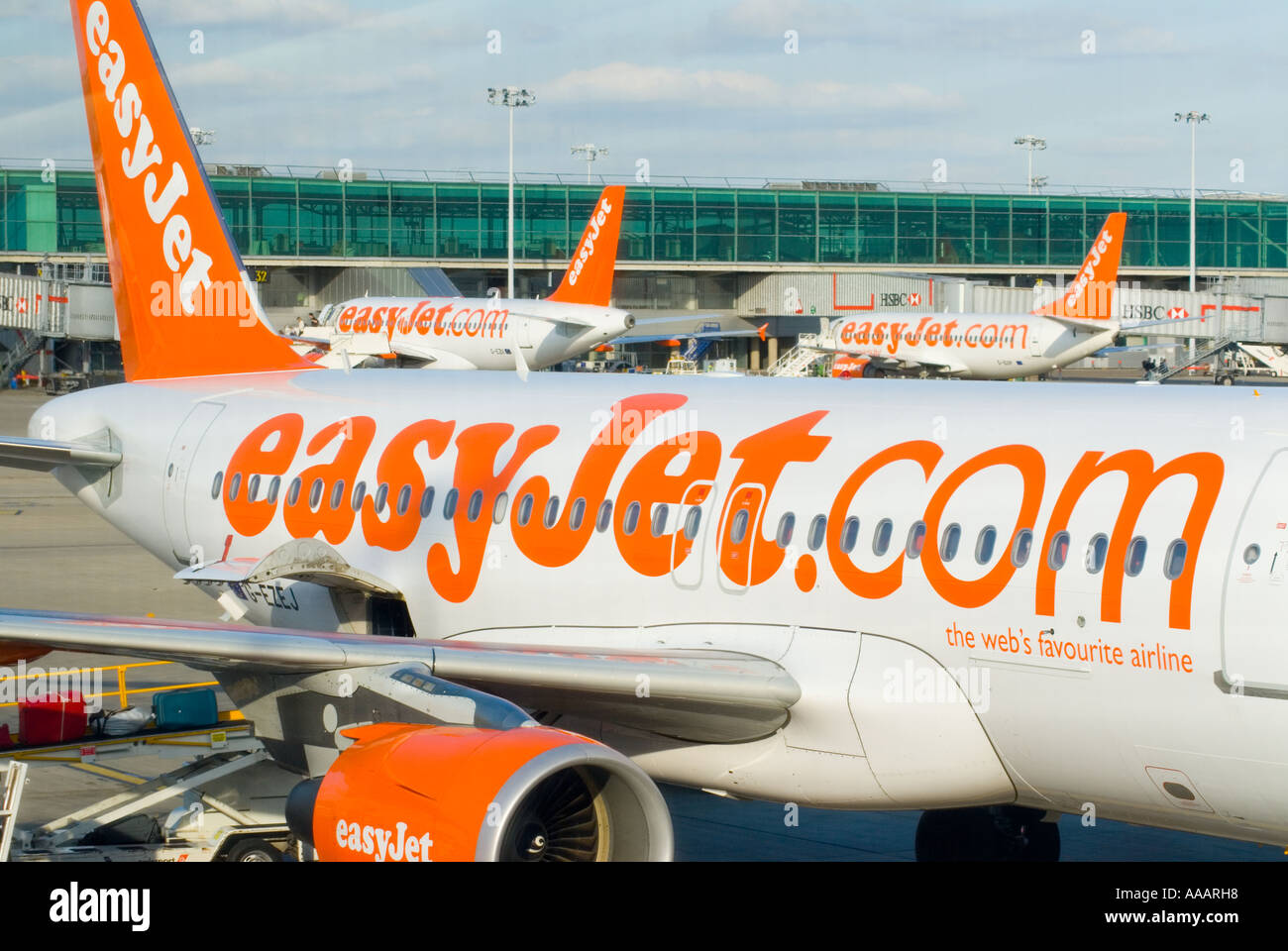 Easyjet planes at Stansted airport England Britain Uk - Stock Image