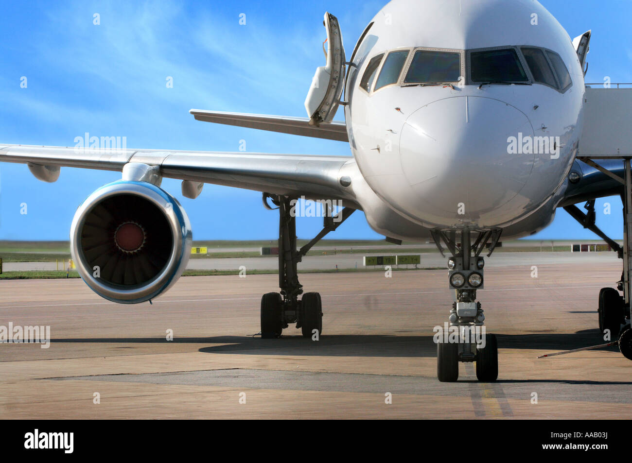 business plane parked at the airport - Stock Image