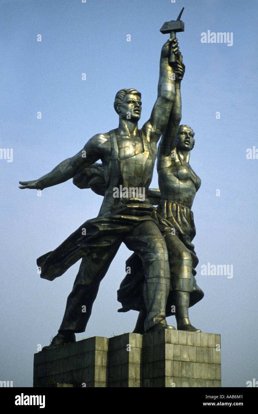 The Worker and Kolhoz Woman statue in Moscow, by Vera Mukhina - Stock Image