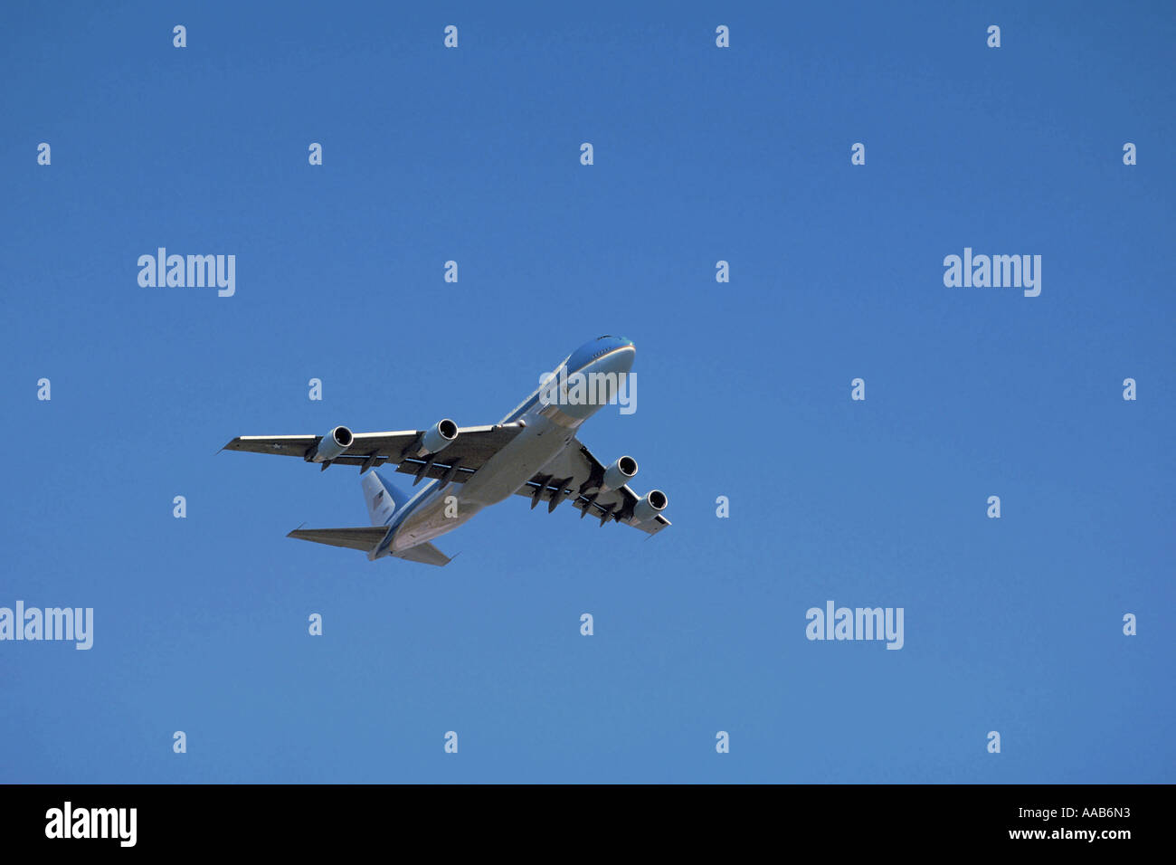 Air Force One seconds after takeoff from LAX, Los Angeles - Stock Image