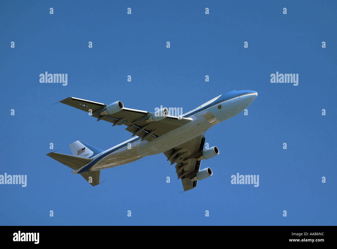 Air Force One climbing after takeoff from LAX, Los Angeles World Airport - Stock Image