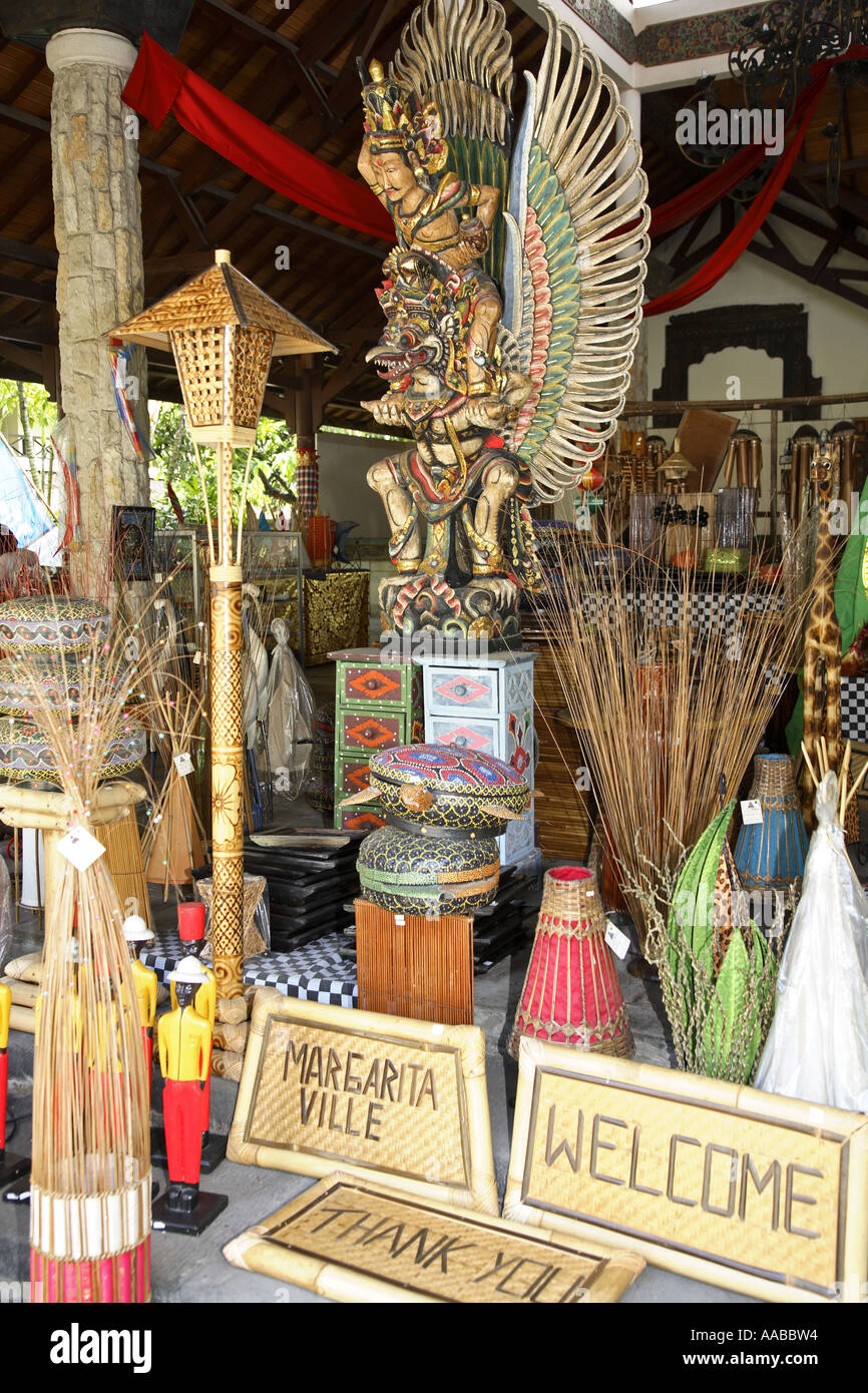 Items for sale in local craft shop, Bali, Indonesia Stock