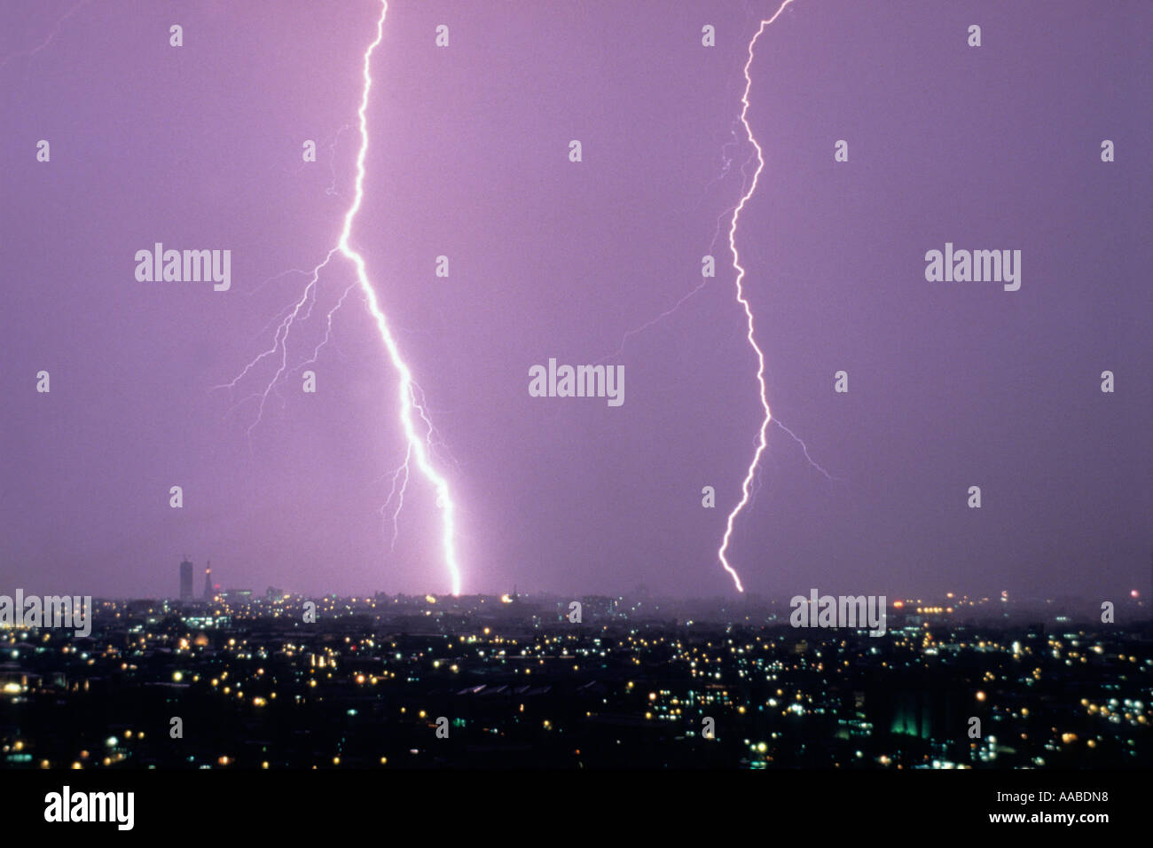 Lightning bolts over Manila, Philippines - Stock Image
