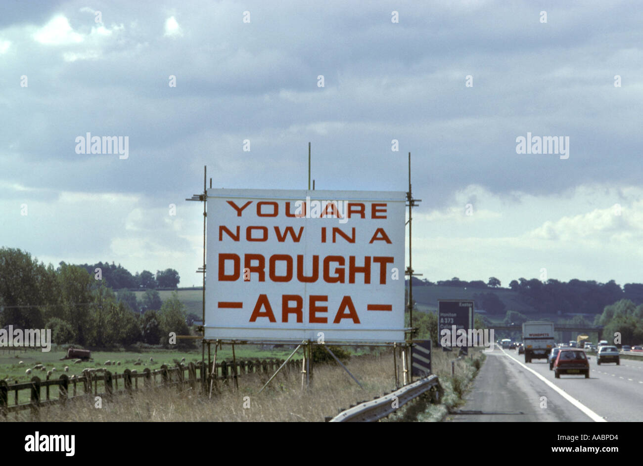 Drought warning sign on M5 motorway near Exeter Devon England circa 1976 - Stock Image