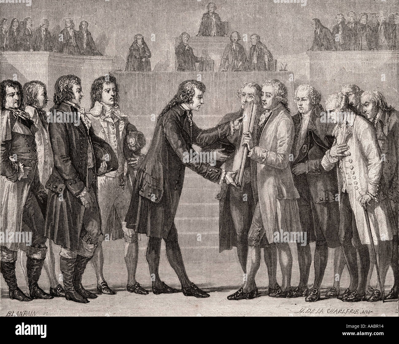Swearing on the book of the constitution,14 September, 1791. Louis XVI, 1754 - 1793. King of France, 1774 - 1792. - Stock Image