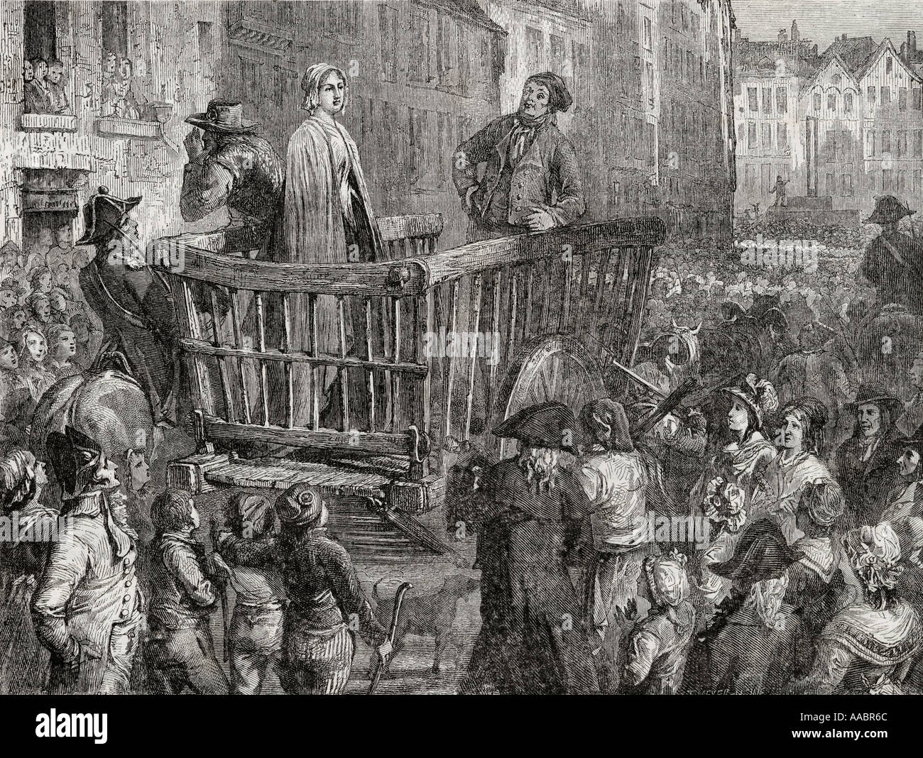 Charlotte Corday driven to her execution 17 July 1793 Charlotte Corday 1768 1798 French Revolutionary heroine - Stock Image