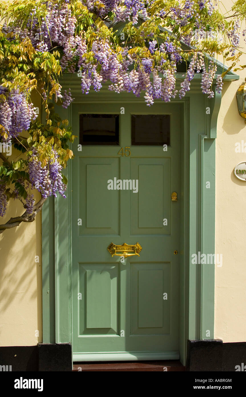 Green Front Door And Wisteria