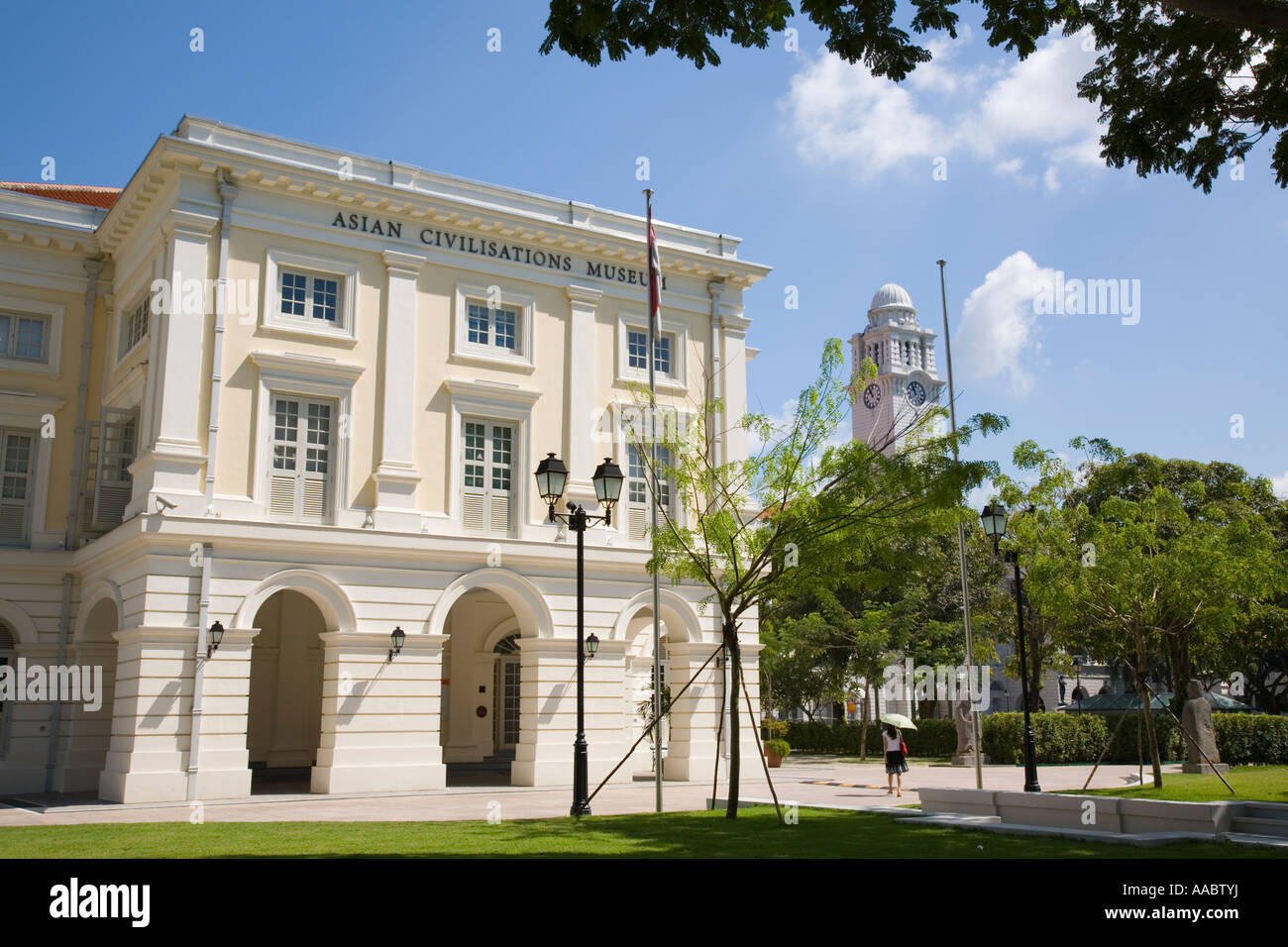 Civic District Singapore Asian Civilisations Museum in Empress Building 1865 at Empress Place Originally Court House. - Stock Image