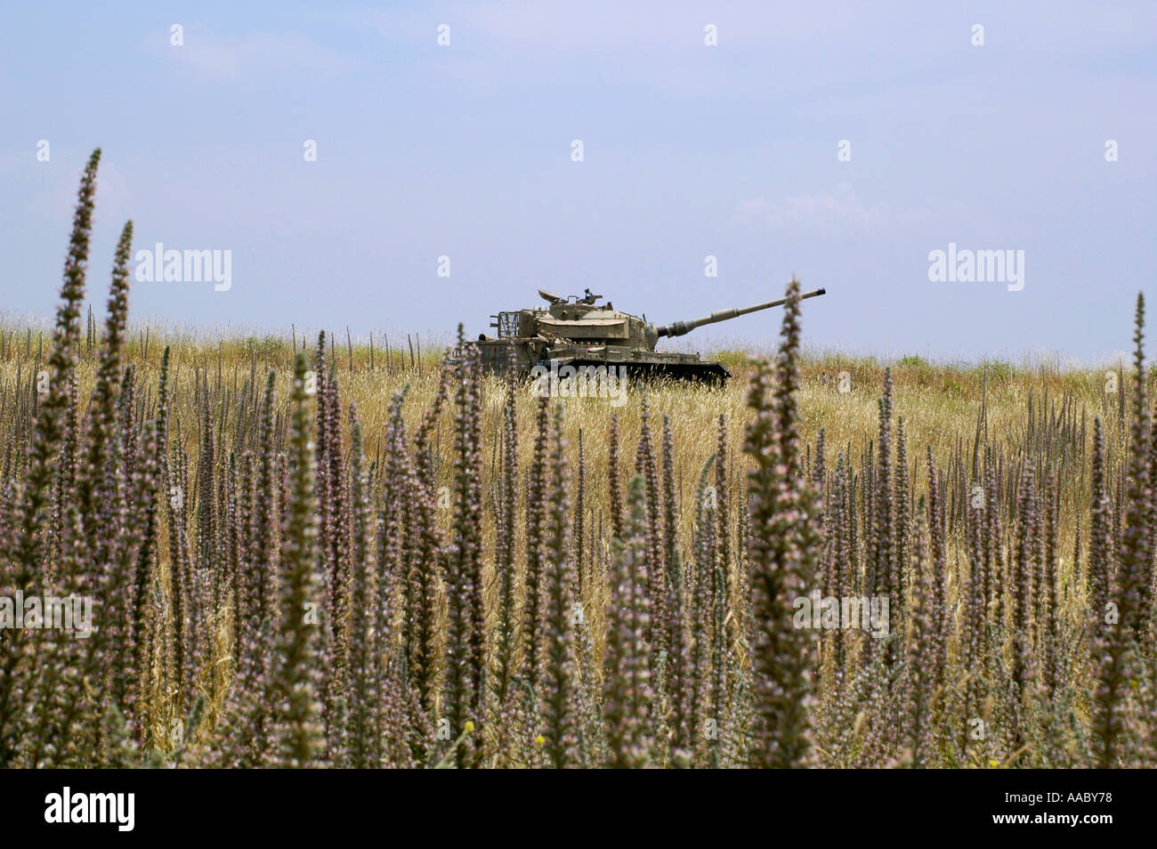 Israeli tank in the Golan heights near the Syrian border Israel - Stock Image