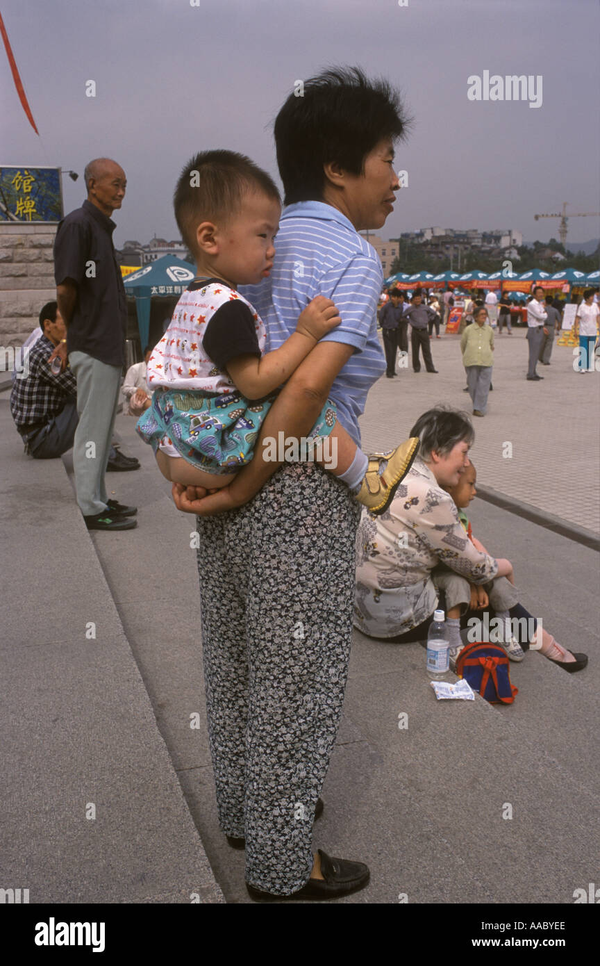 China Hangzhou, Zhejiang Province Mother baby Chinese style children trousers have a bottom opening 1990s HOMER Stock Photo