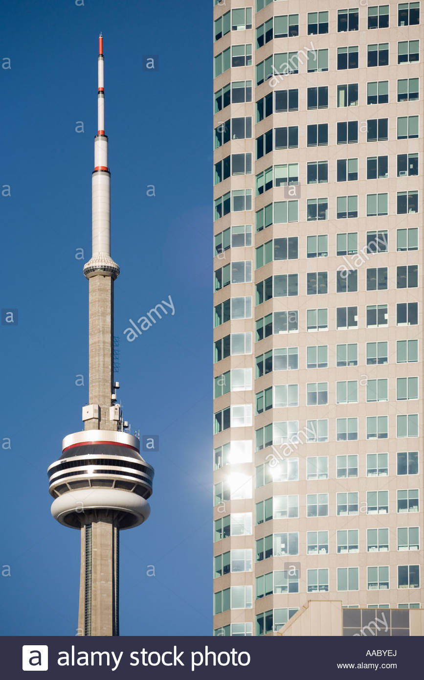 CN Tower and BCE Place in the financial district of Toronto Ontario Canada - Stock Image