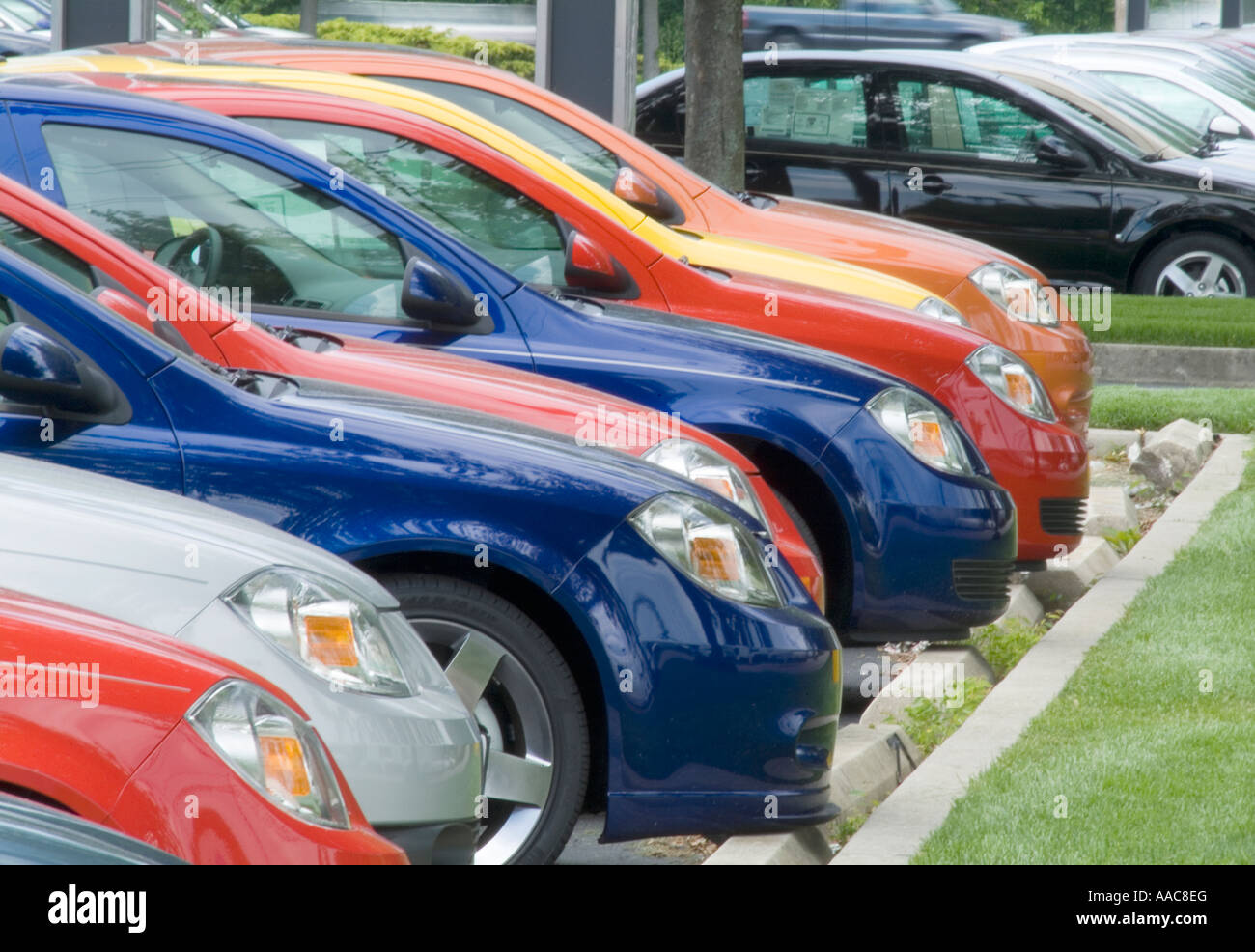 Rows Of New Cars For Sale In New Car Dealership Parking Lot Stock Photo