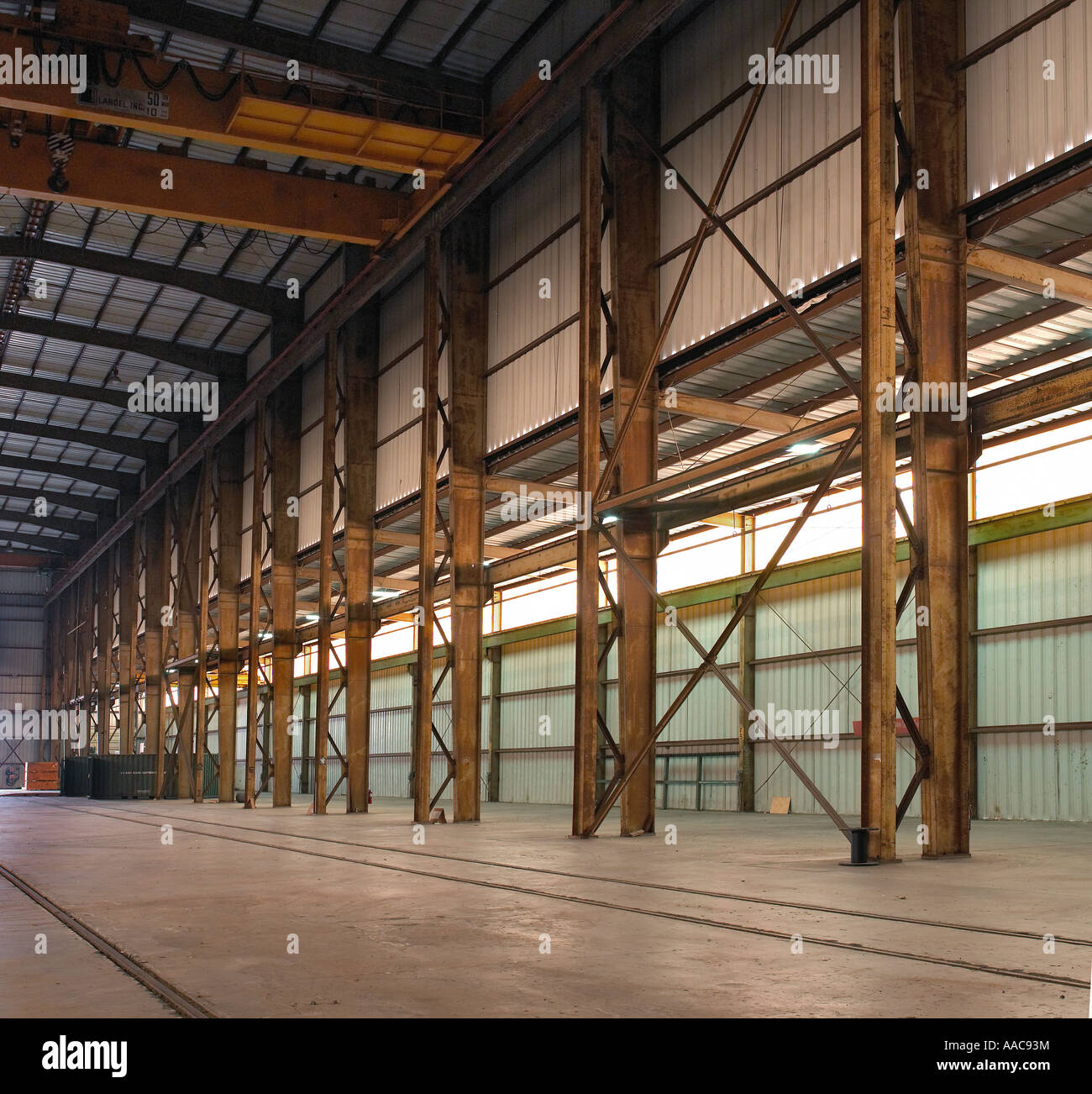 Rusty Beams Girders Inside Old Empty Warehouse, USA Stock