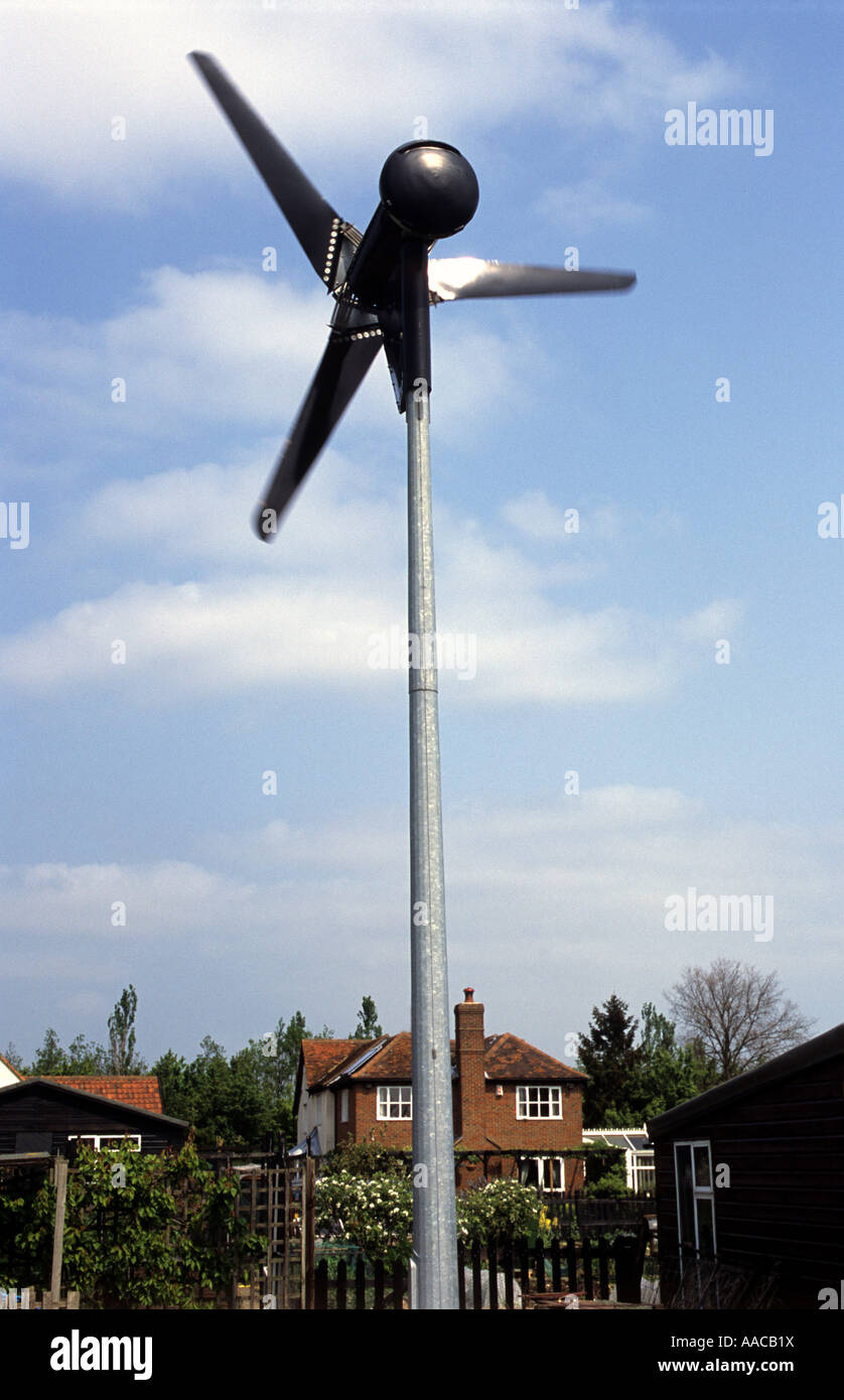 Micro Wind Turbine In The Garden Of A Residential Property Stock Photo:  12585349   Alamy