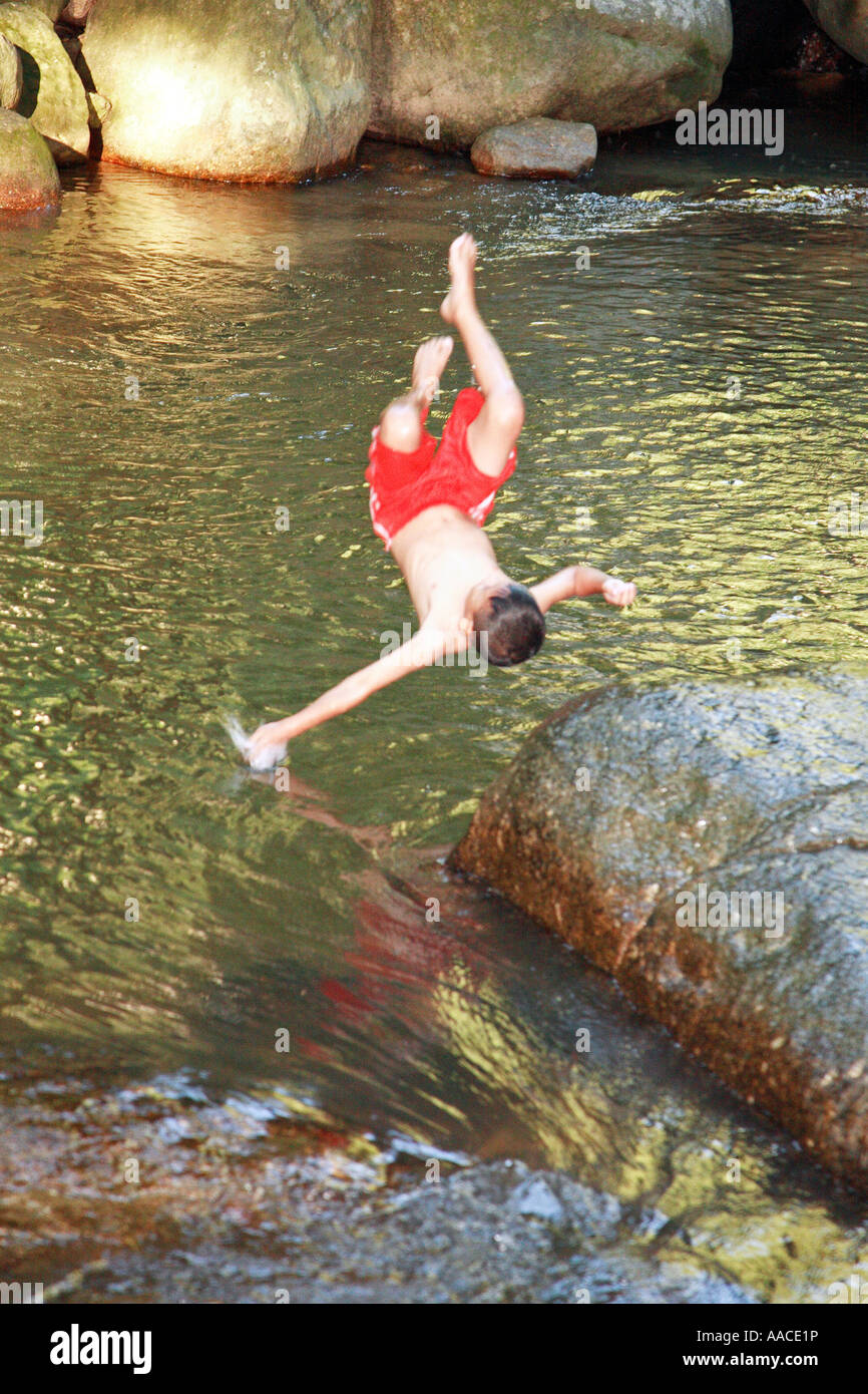 Hin Lad Waterfall Koh Samui Thailand - Stock Image