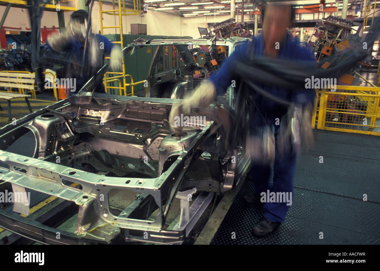 Sao Paulo Brazil Workers at automobile assembly plant car factory industry Stock Photo