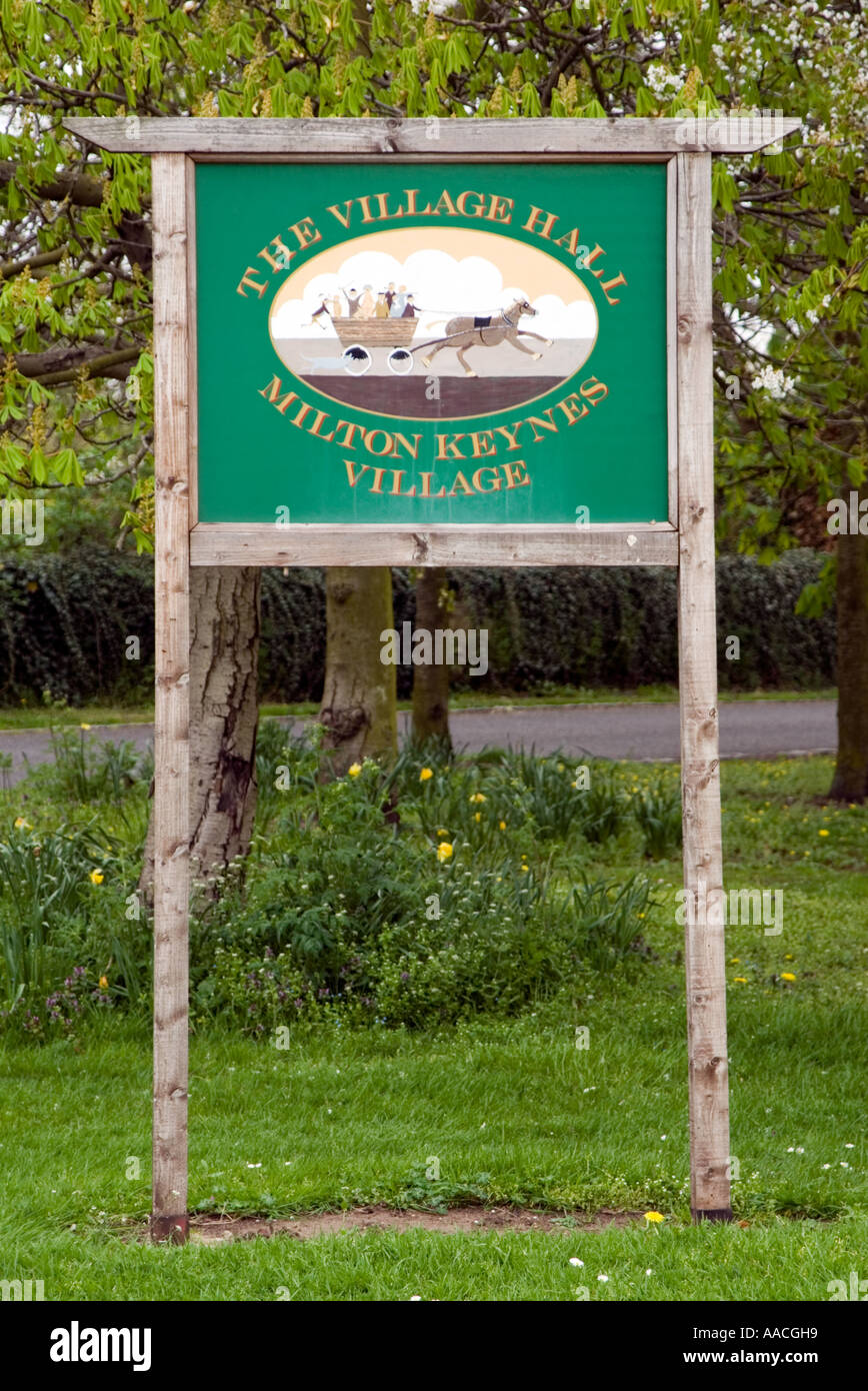 Milton Keynes Village Hall sign post MK Buckinghamshire new city - Stock Image