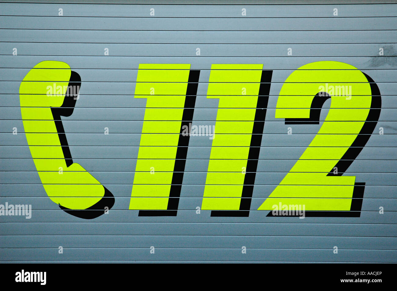 Emergency call telephone number 112 for police and firebrigade - Stock Image