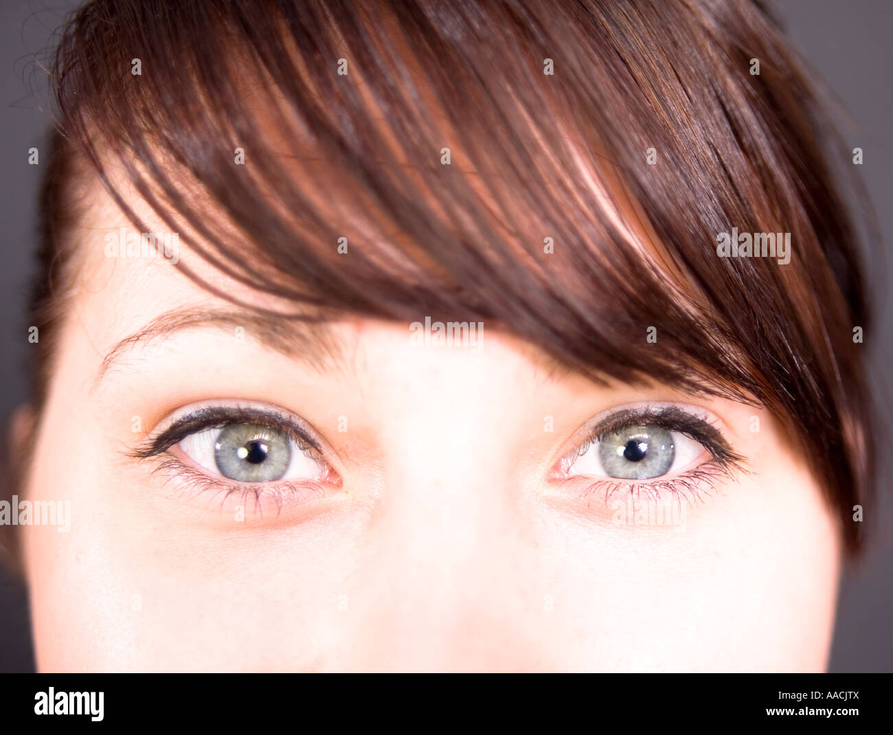 hypnotic eyes on this seventeen year old young woman stock photo